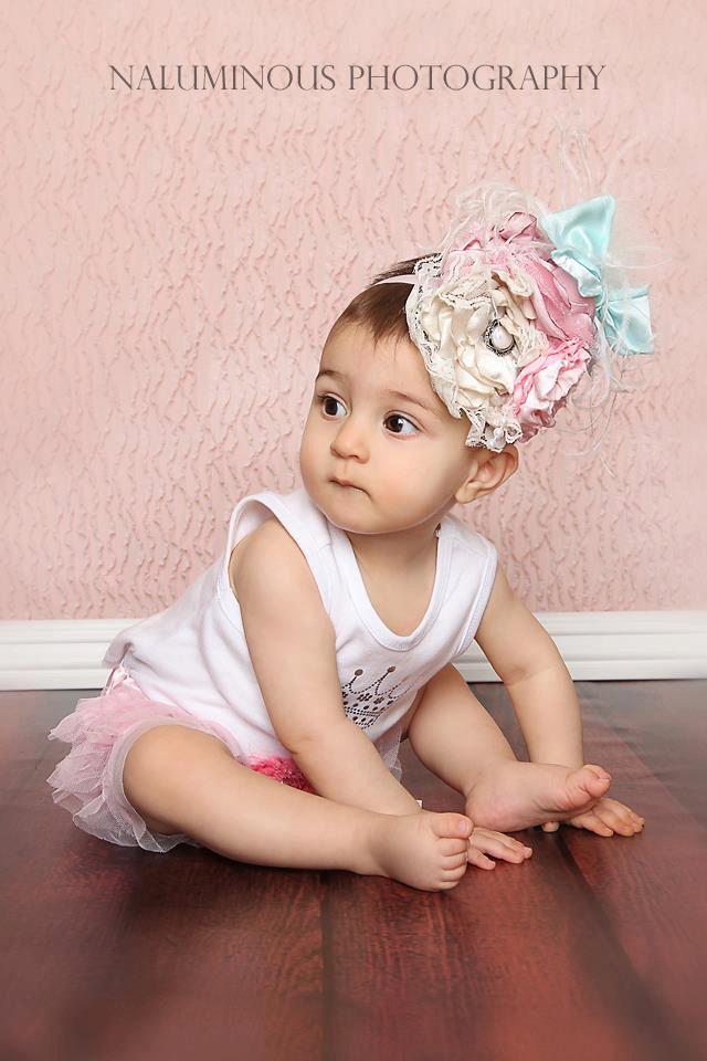 アクア・ピンク・アイボリーのお花たっぷり☆レースとフェザーのヴィンテージハット