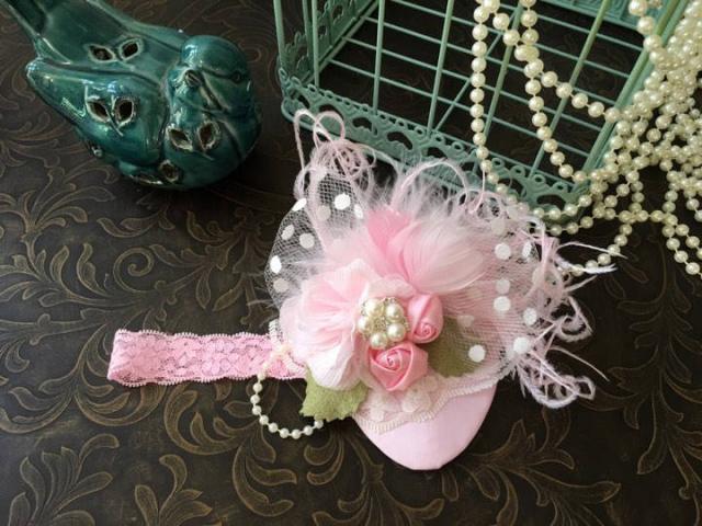 Newbornフォト★ピンクのティアドロップフェザーハット