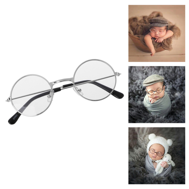 おしゃれなベビーメガネ ベビー用のちいさなちいさな眼鏡 あかちゃんめがね ブラック、シルバー、ゴールド