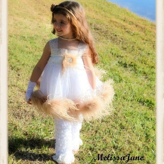 天使のオーストリッチフェザードレス「Angel Ostrich Feather Dress」1歳から5歳