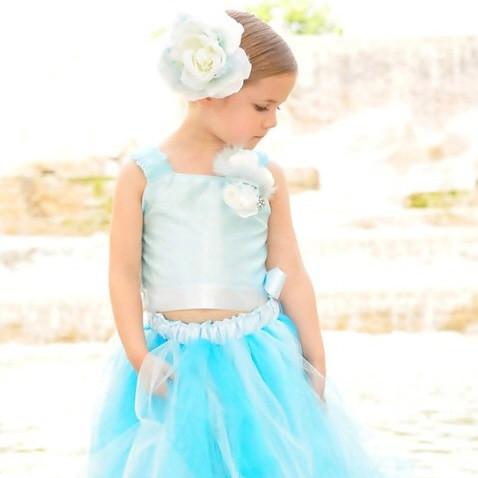 神聖な水色の贅沢なチュチュドレスセット「Aqua Devine Lavish Tutu Dress Set」1歳から8歳