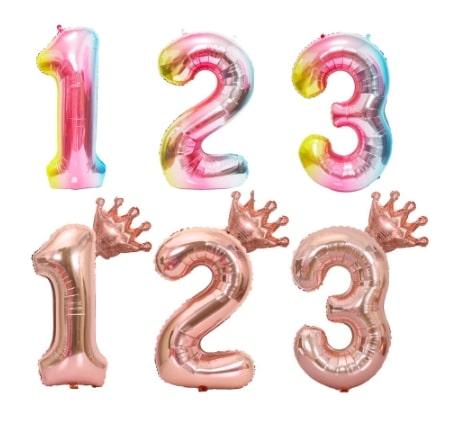 バルーンナンバー☆数字風船<ローズピンク・グラデーション>「sweet sixteen(スイートシックスティーン、スイート16)」
