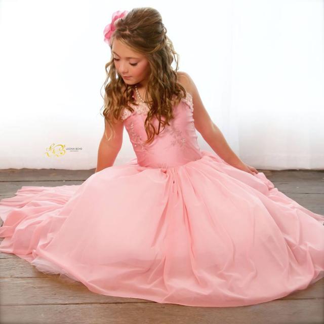 ブラッシュピンクのローズドレス「Blush Pink Rose Girl Dress」1歳から8歳