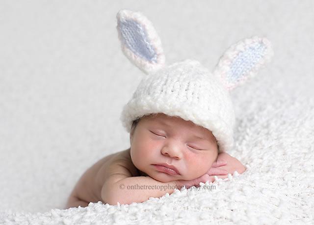 ★ラブリーバニー帽子★ブルー 0才ベビーの可愛いうさぎの帽子♪