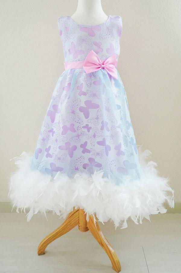 バタフライ柄ワンピースドレス