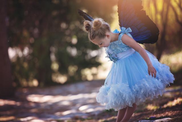 カリビアンブルーのフェザーラインドレス☆女の子に人気の水色入荷♪Caribbean Blue 4T【100・110・120サイズ】