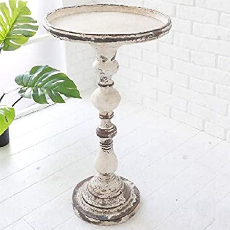 ブラン・フラワーテーブル     アンティーク調  インテリア  オブジェ サイドテーブル スチール
