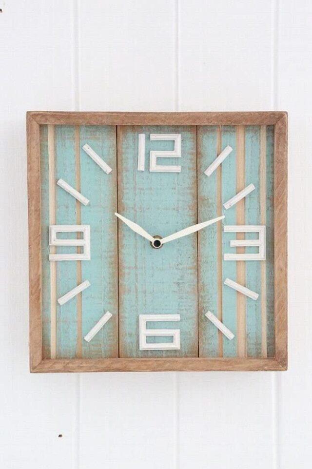 アクアウッド・スクウェアクロック  アンティーク 壁掛け時計 インテリア