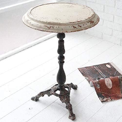 トップディスク・ラウンドコンソール   テーブル アンティーク調 スチール ホワイト