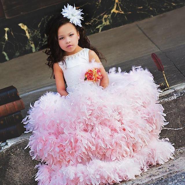 カップケーキのフェザードレス「Cupcake Feather Flower Girl Dress」1歳から12歳