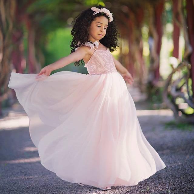 夢のようなブラッシュピンクのドレス「Dreamy Blush Pink Girls Dress」1歳から12歳