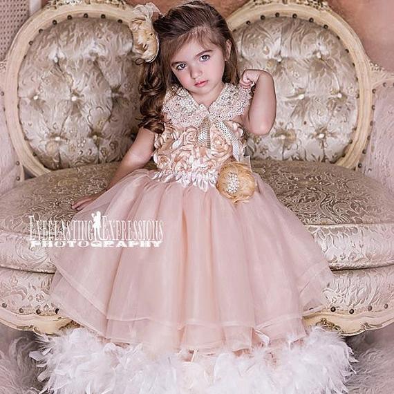 夢のようなロゼットのヴィンテージドレス「Dreamy Rosette Vintage Flower Girl Dress」1歳から6歳