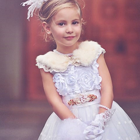 ドリーミーヴィンテージロゼットフェザードレス「Dreamy Vintage Rosette Feather Girls Dress」1歳から6歳