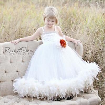 フォーエバードリーム フェザードレス「Forever Dreams Feather Flower Girl Dress」1歳から12歳