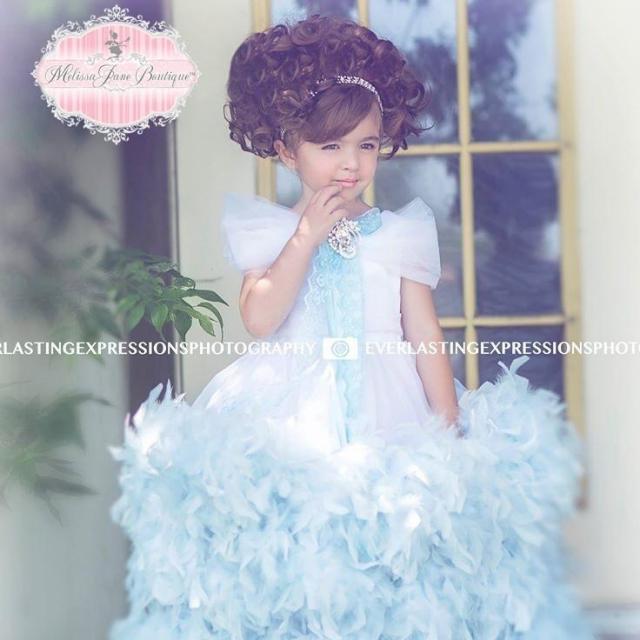 雪の女王風フェザードレス「Frozen Inspired Girls Feather Dress」1歳から12歳