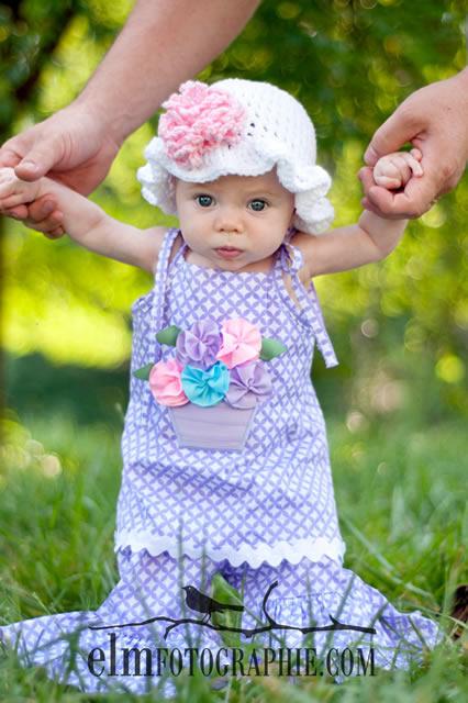 曜日ごとにお花をつけ替えられる!ガーデンパーティービーニーハット帽子とヘアバンドセット