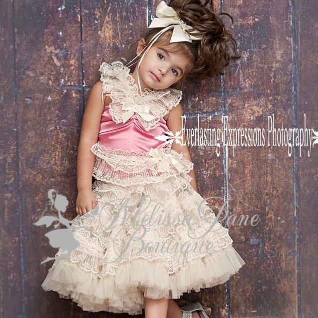 美しいレースのぺティスカートセット「Lace Glory Pettiskirt Set」1歳から5歳