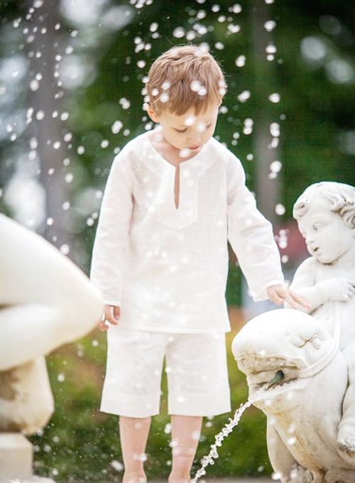 しなやか♪ボーイズホワイトリネンシャツ6months-6才【EUデザイナーから直送】【送料込】