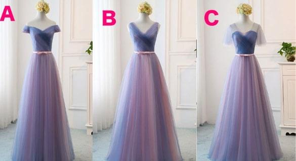 vネックチュールウエディングパーティードレス ブライズメイドドレス<mix color>