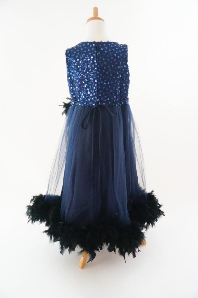 ネイビーチュールとスパンコールフェザードレス【Navy Sparkle Tulle & Sequin Feather Dress】