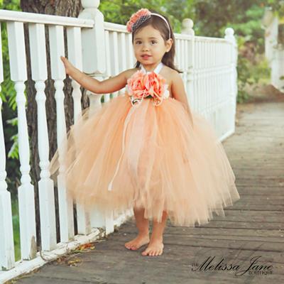 神聖な桃色のチュチュドレス「Peach Devine Tutu Dress」0歳から6歳