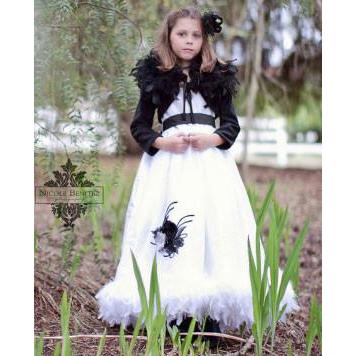 ポッシュファンシーフェザーシルクドレスとシュラッグ「Posh Fancy Feather Silk Dress w/Shrug」2歳から10歳