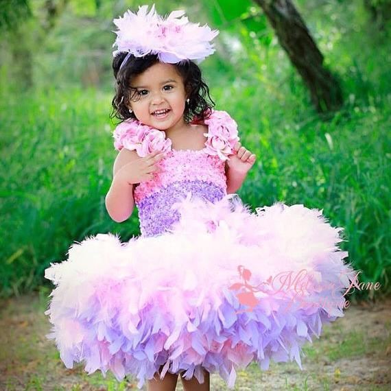 かわいいピンクのバレリーナドレス「Pretty In Pink Ballerina Girls Feather Dress」1歳から4歳
