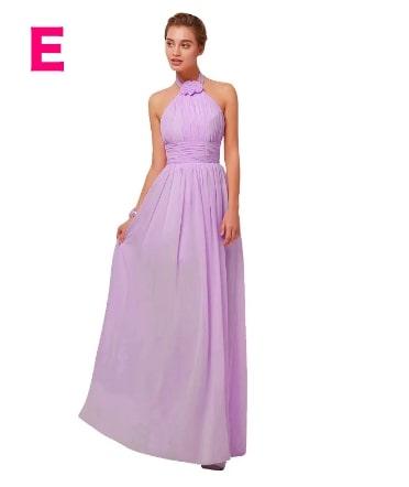 シフォン素材 Aラインのノースリーブパーティードレス ブライズメイドドレス<purple>
