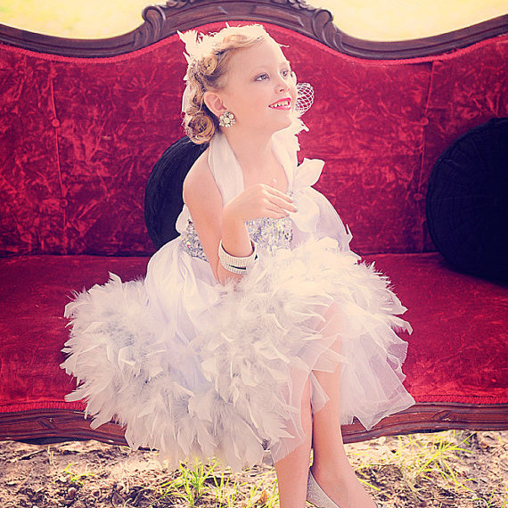 豪華絢爛 きらめく魅惑のフェザードレス「Ritz Glitz & Glamour Stunning Girls Feather Dress」1歳から8歳