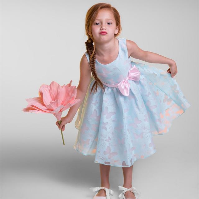 シンプルな蝶のオーガンジードレス「Simple Butterfly Organza Dress」2歳から12歳
