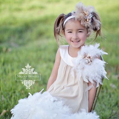 ソフトシフォン フェザードレス「Soft Chiffon Feather Girls Dress」1歳から10歳