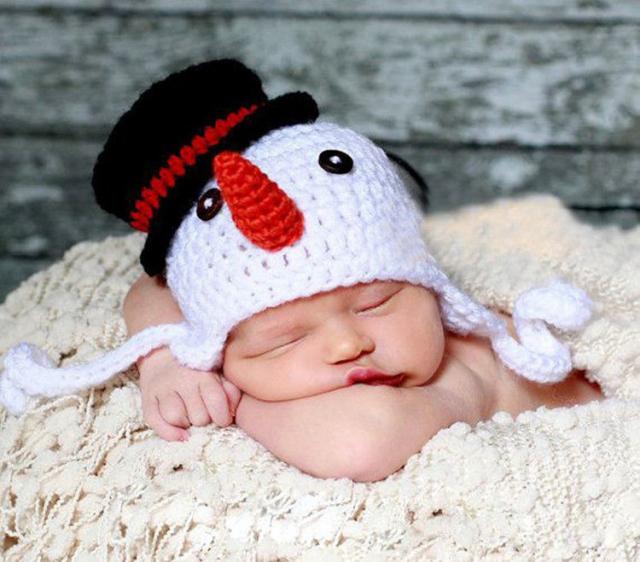小さなスノーマン★かぎ針編みのスノーマン帽子 Newborn-8months