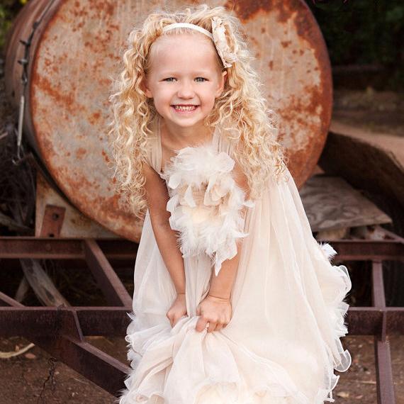女の子の甘い喜び~フェザードレス「Sweet Delight Girls Feather Dress」2歳から14歳