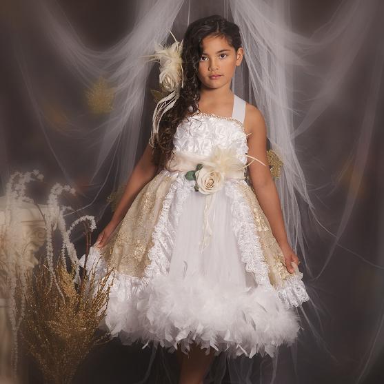スウィートゴールドとホワイトのおとぎ話ドレス「Fairy Tales - Sweet Gold and White Girls Feather Dress」1歳から6歳