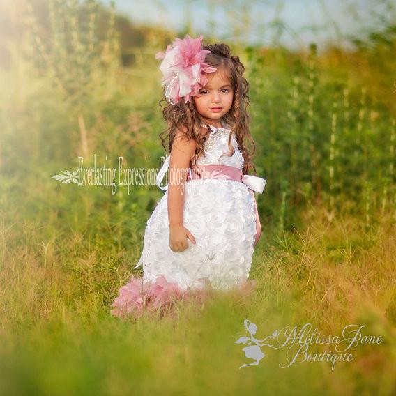 スウィートミストエンジェル ロゼットフェザードレス「Sweet Mist Angel Rosette Girls Feather Dress」1歳から5歳