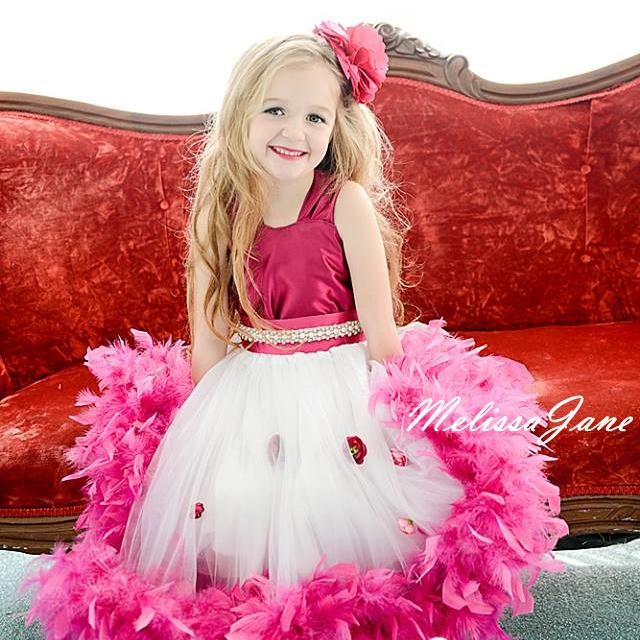 甘い木苺のフェザードレス「Sweet Raspberry Girls Feather Dress」1歳から6歳