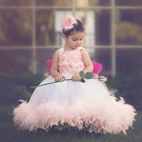 ティー・ローズ フェザードレス「Tea Rose Girls Feather Dress」1歳から6歳