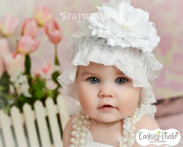 ベビーレースビーニー帽子☆ホワイト♪