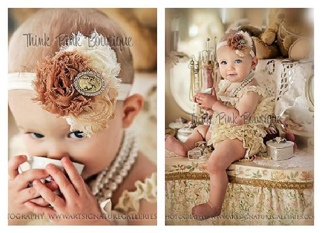 ロンパース&ヴィンテージヘッドドレス☆クリームカラー newborn-4T【2点セット♪】
