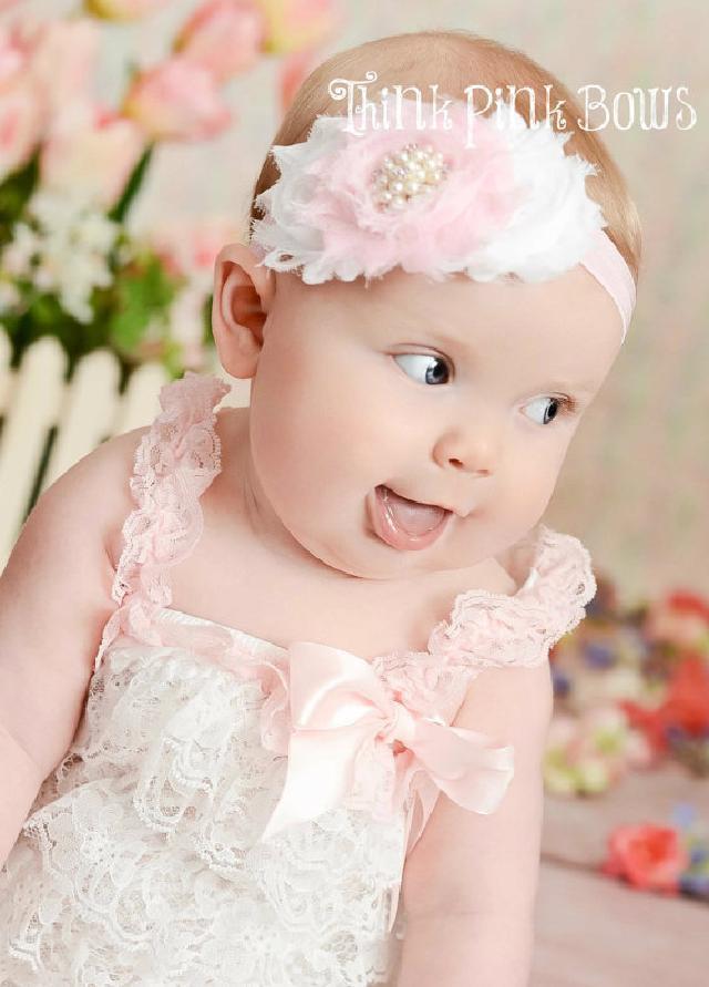 肩ひもショルダー&リボン付ソフトロンパース newborn-4T☆ピンク&ホワイト♪