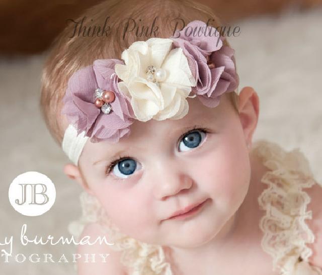 優しい色合い♪3つのお花とラインストーンのヘアバンド☆アイボリー&モーヴ