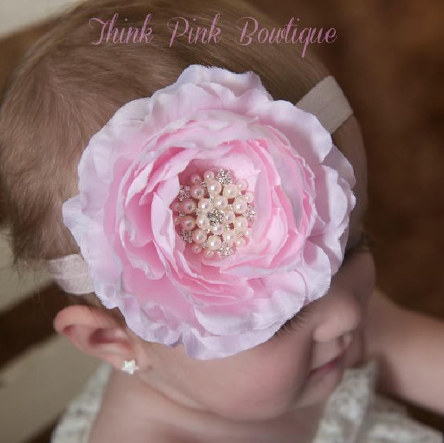 きれい色♪お花とラインストーンのヘアバンド☆ピンク <在庫あり◎>