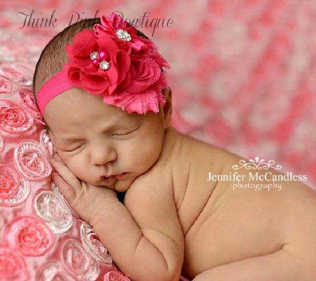 素材の違うお花がエレガント♪お花とラインストーンのヘアバンド☆ホットピンク♪