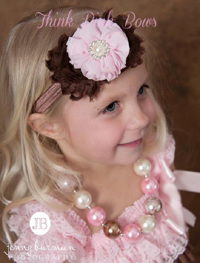 シックなカラー♪お花とラインストーンのヘアバンド☆ブラウン&ピンク