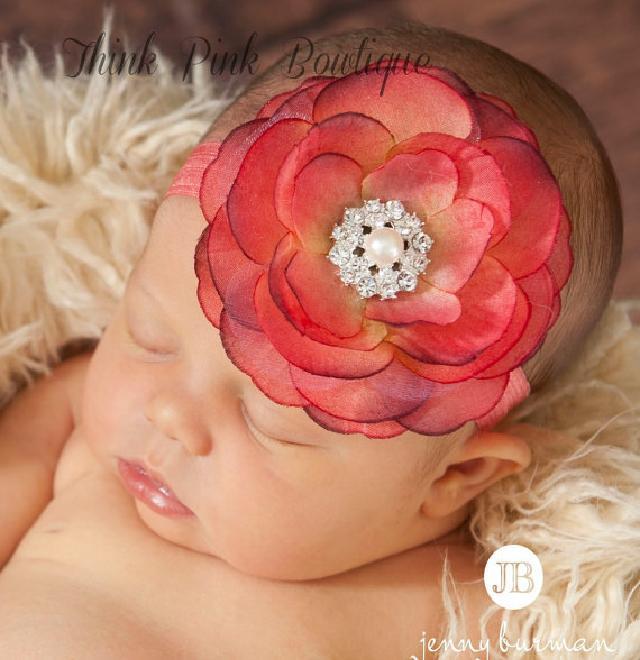きれい色♪お花とラインストーンのヘアバンド☆レッド