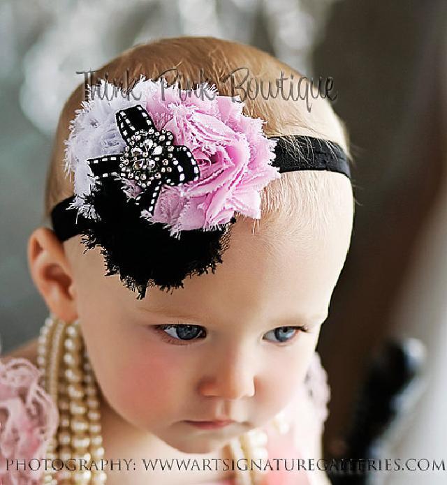 トリプルシャビーローズとラインストーンのヘアバンド☆ピンク、ブラック&ホワイト♪