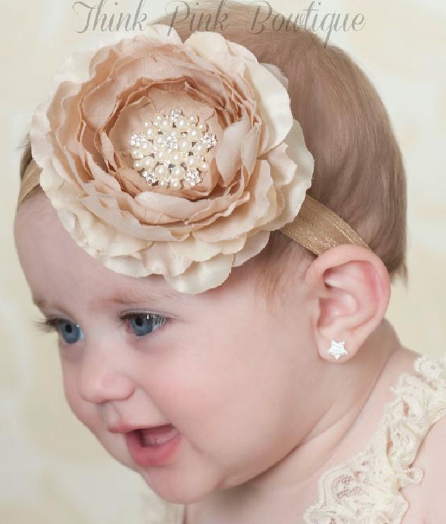 きれい色♪お花とラインストーンのヘアバンド☆クリーム