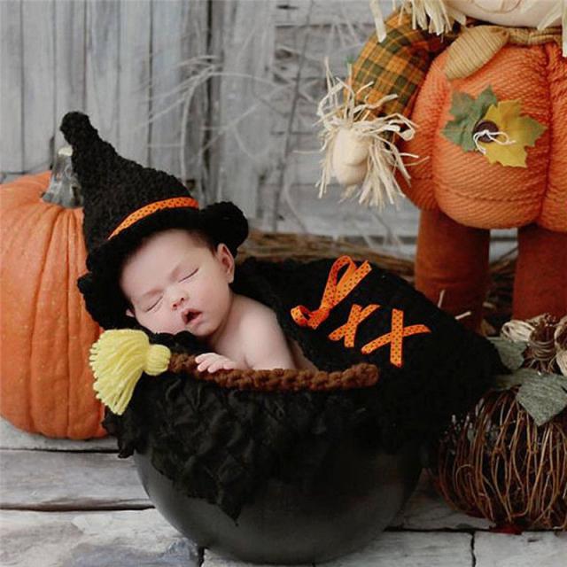 ハロウィン衣装★かぎ針編みの魔女衣装セット Newborn-3Months Baby