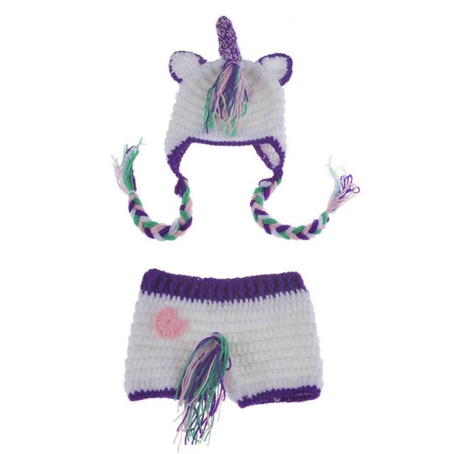 カラフルユニコーン★かぎ針編みのユニコーン帽子&しっぽ付きブルマのセット Newborn-3months