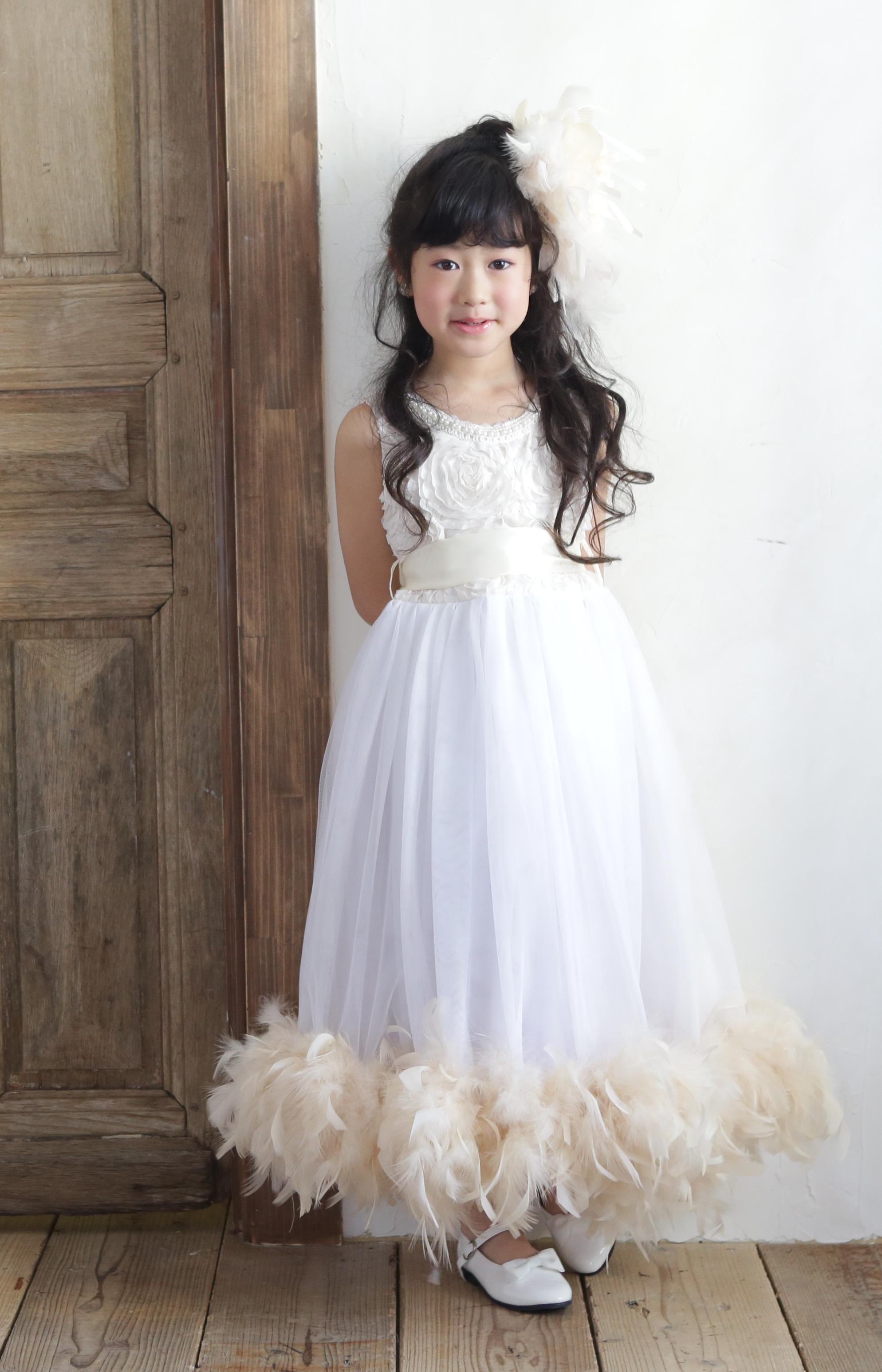 レンタルドレス「Mei」110-120サイズ ソフトアイボリーのフェザーラインドレス☆【2泊3日レンタル往復送料無料】